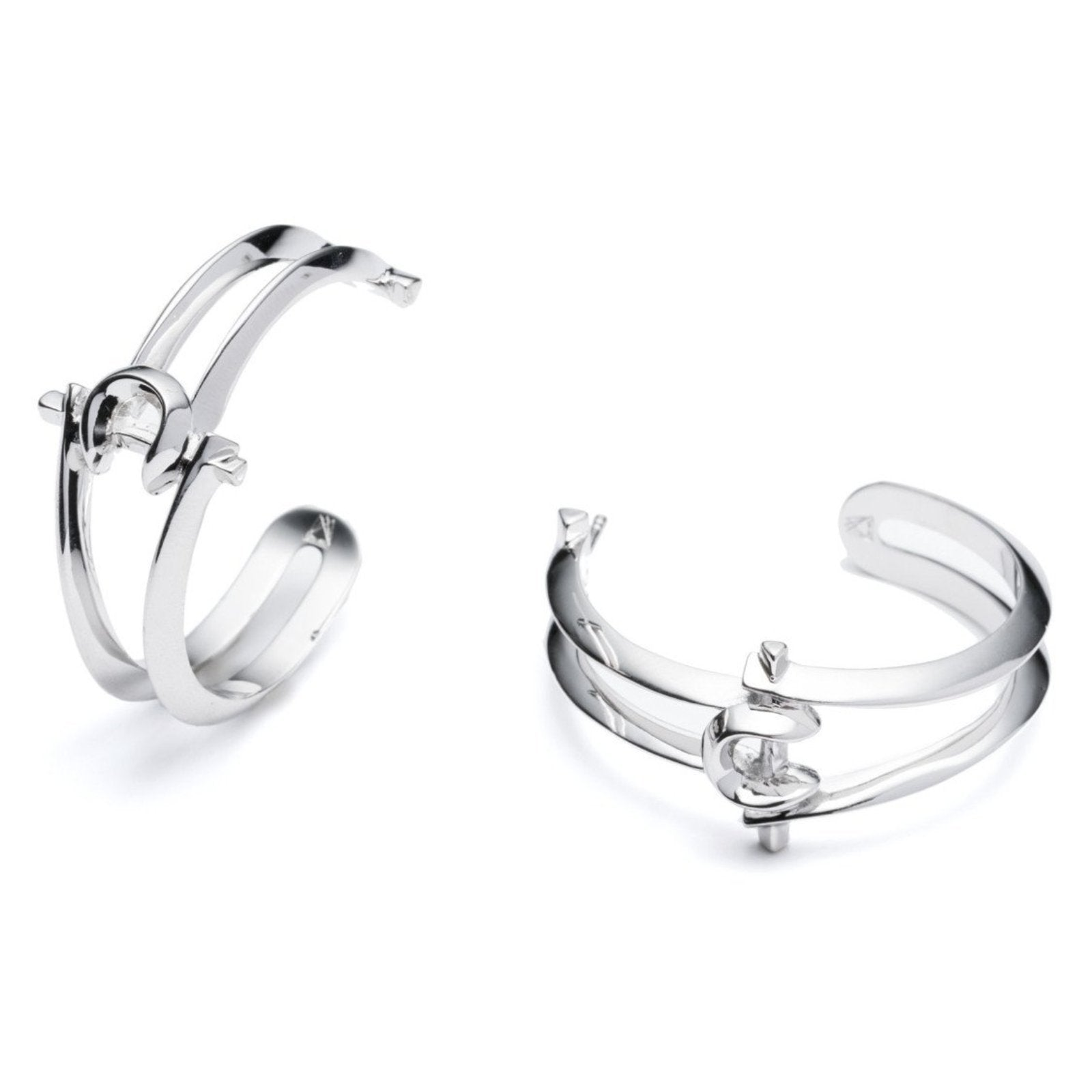 MARCY HOOP EARRINGS - SILVER PLATED BRASS