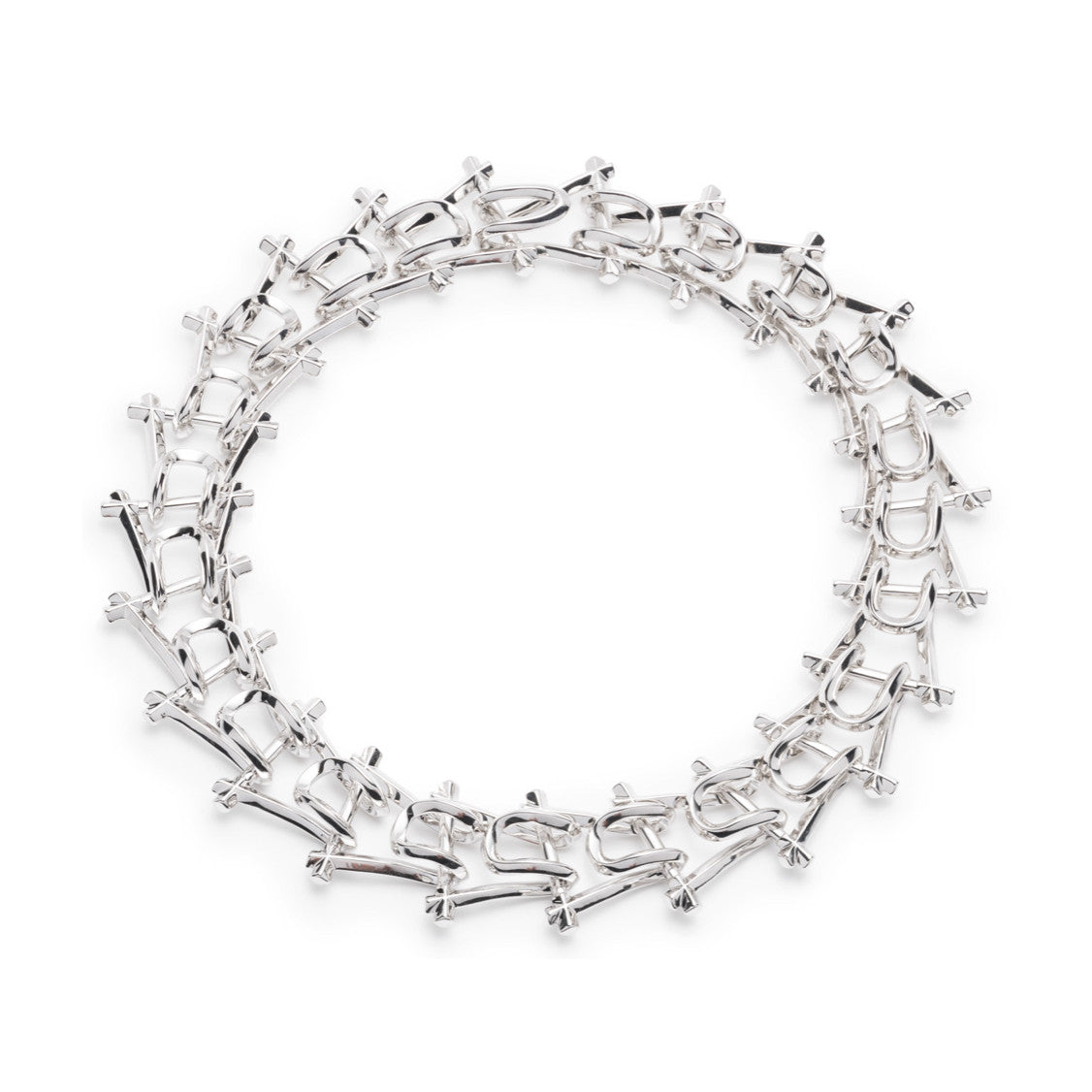 MARCY LINK NECKLACE - SILVER PLATED BRASS