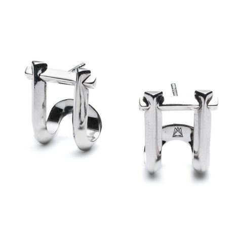 Marcy Stud Earrings - Silver Plated Brass