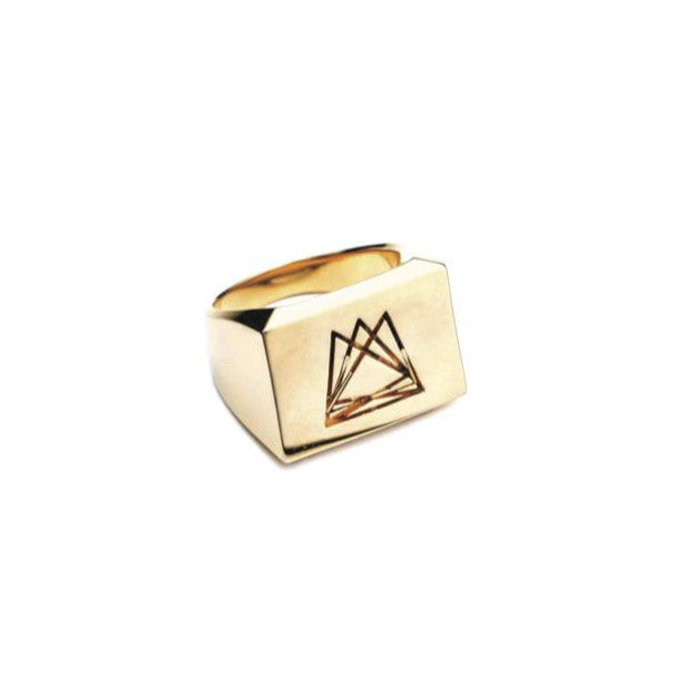 HEDRON SIGNET RING - 18K GOLD PLATED BRASS
