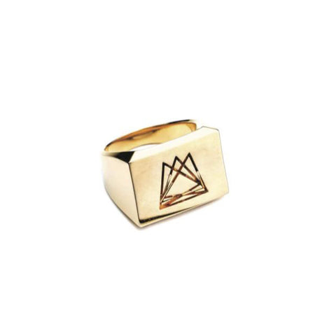 HEDRON SIGNET RING - GOLD PLATED BRASS