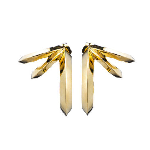 HEDRON THREE ROW EARRINGS - GOLD PLATED BRASS