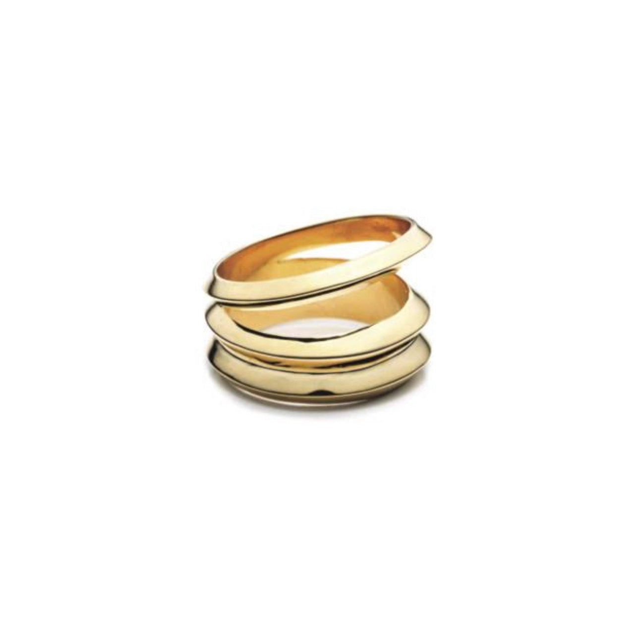 HEDRON THREE ROW RING - 18K GOLD PLATED BRASS