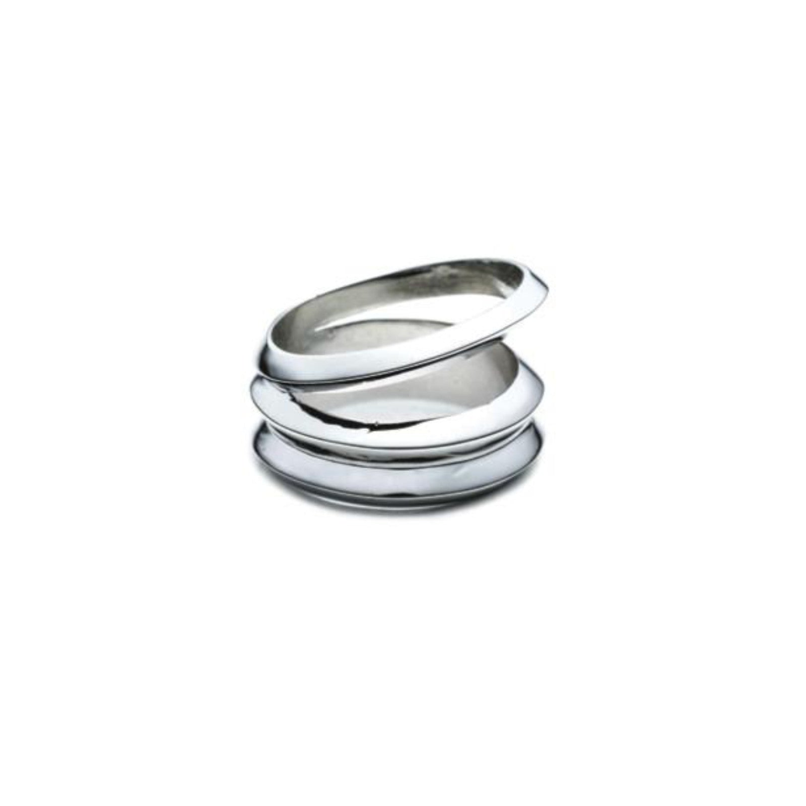 HEDRON THREE ROW RING - SILVER PLATED BRASS