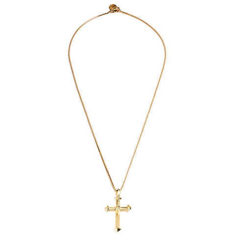 HEDRON CROSS NECKLACE - GOLD PLATED BRASS