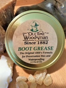 "Ole Time Woodsman Boot Grease. The Original 1800's Formula for Presevation Wax and Waterproofing. (FREE WORLD WIDE SHIPPING) - Ole Time Woodsman Fly Dope ""Since 1882, The World's First and Best Protection Against All Biting Insects!"""