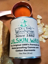 "Load image into Gallery viewer, Ole Time Woodsman Oilskin Wax: The Original 1800's Civil War Formula for Waterproofing Canvas and Cotton Garments. (Free Shipping in USA) - Ole Time Woodsman Fly Dope ""Since 1882, The World's First and Best Protection Against All Biting Insects!"""