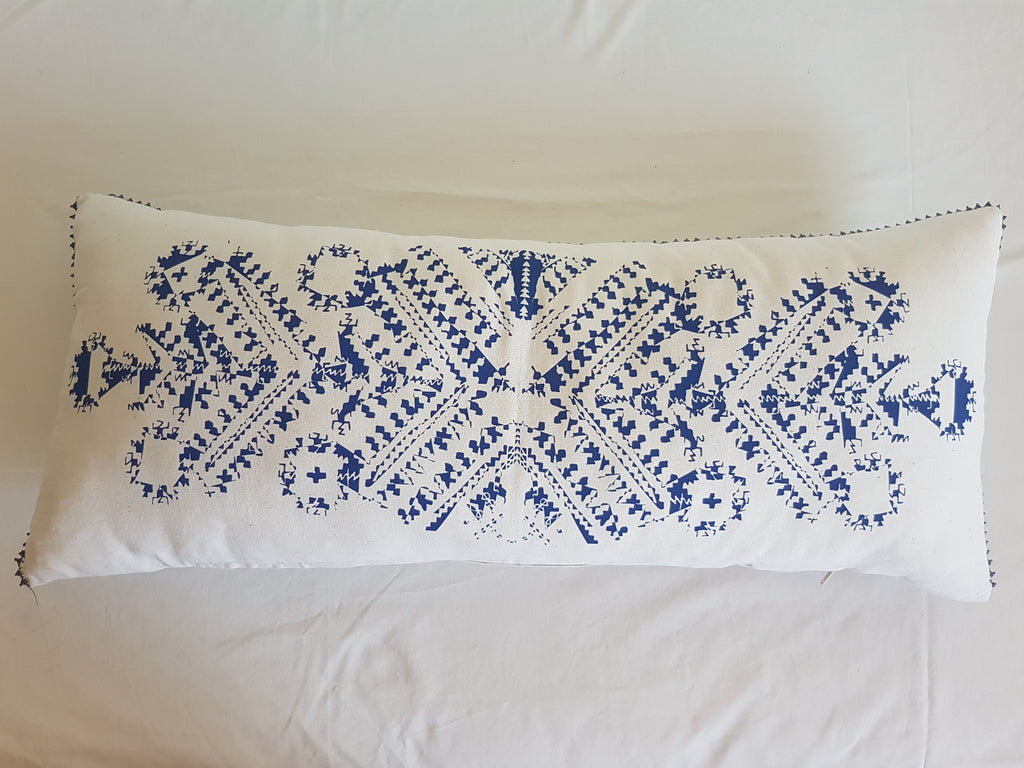 "Coussin 90x39cm ""NEW BLOOM BLEU"""