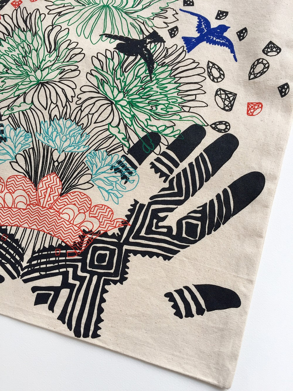 Tote Bag coton biologique imprimé main 40x45cm « Flowered Henna Tattoo »