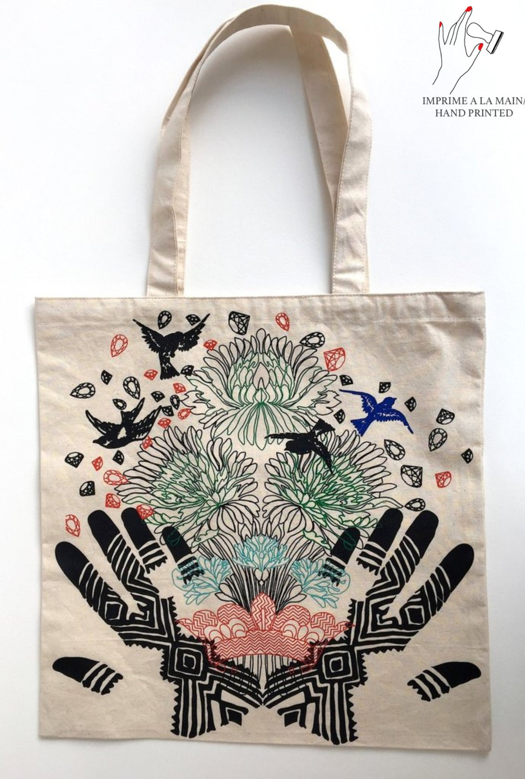 Tote Bag coton imprimé main 40x45cm « Flowered Henna Tattoo »