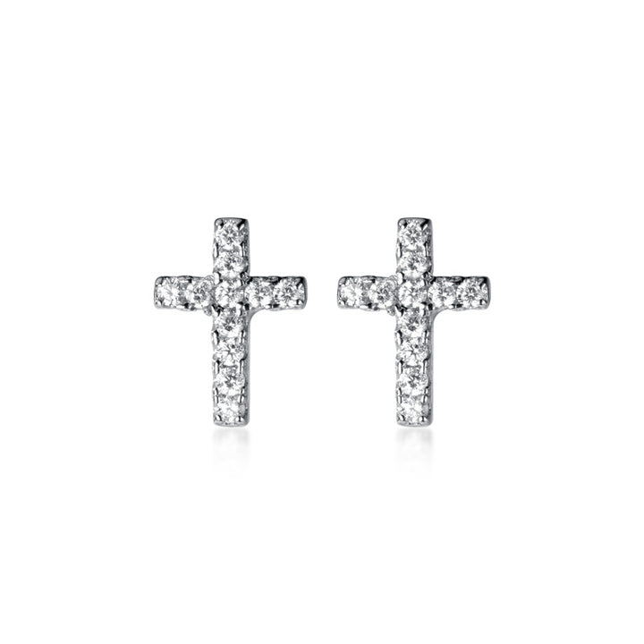 TINY EARRINGS CRUZ PLATA DE LEY 925 Y CIRCONITAS