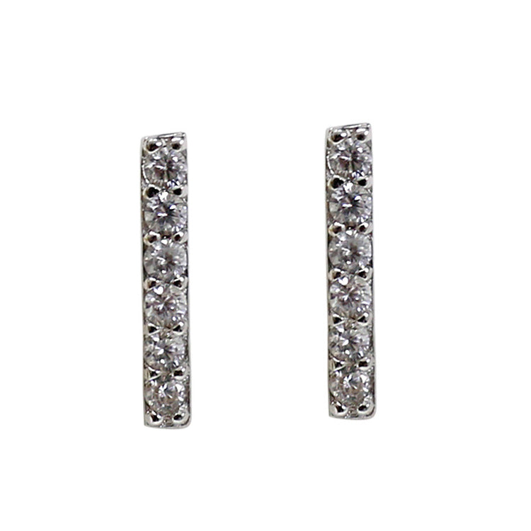 TINY EARRINGS BARRAS PLATA DE LEY 925 Y CIRCONITAS