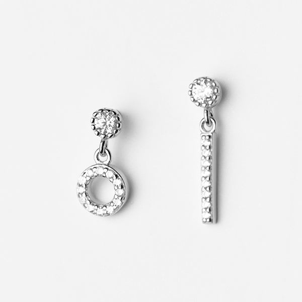 TINY EARRING CIRCULO Y VERTICAL