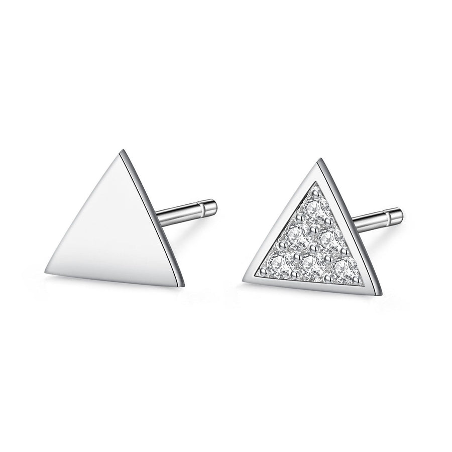 TINY EARRINGS TRIANGULOS PLATA DE LEY 925 Y CIRCONITAS
