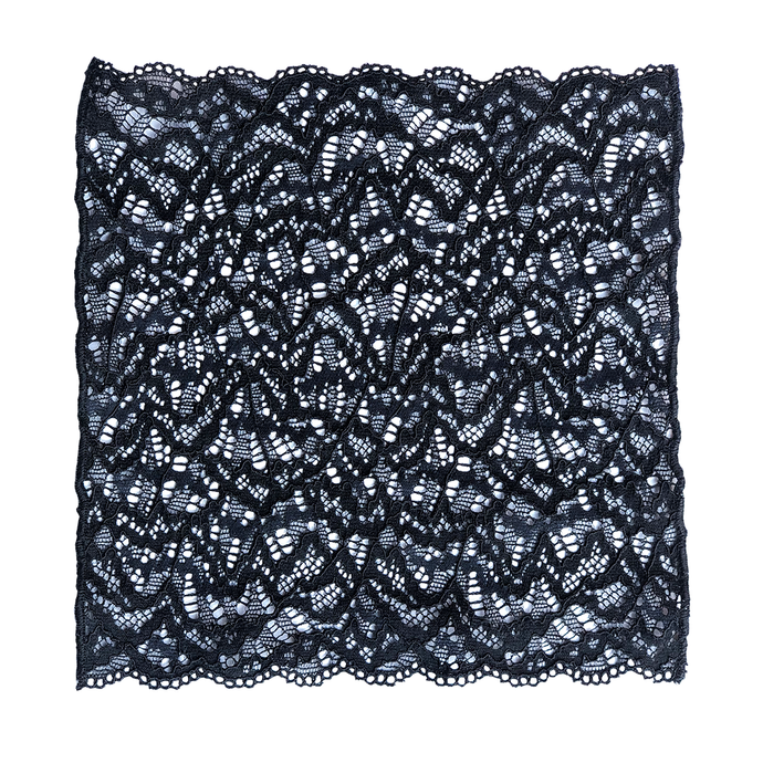 Lace pocket square in black sand color.
