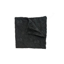 Load image into Gallery viewer, Fantasia Lace Pocket Square in Black Sand folded.