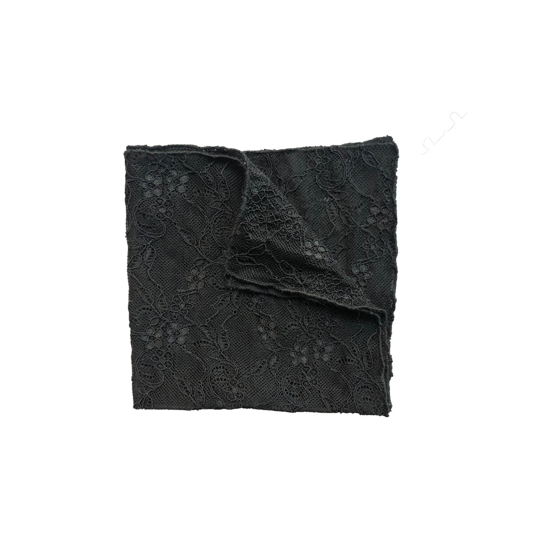 Fantasia Lace Pocket Square in Black Sand folded.