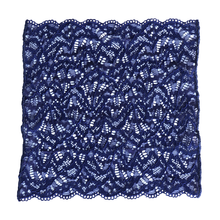 Load image into Gallery viewer, Venetian Blue lace pocket square on white background.