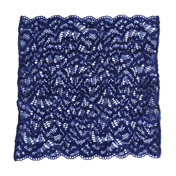 Venetian Blue lace pocket square on white background.