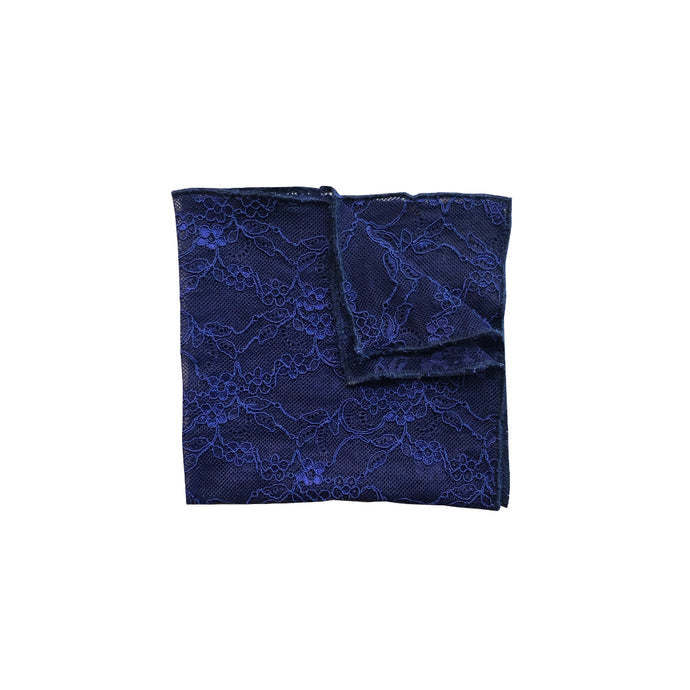 Fantasia Pocket Square in Venetian Blue folded.