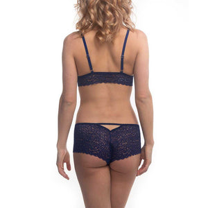 Duchess Lace Lingerie Set in Venetian Blue on model facing away.