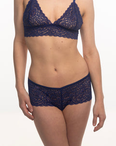 Duchess lace hipster in Venetian Blue on model