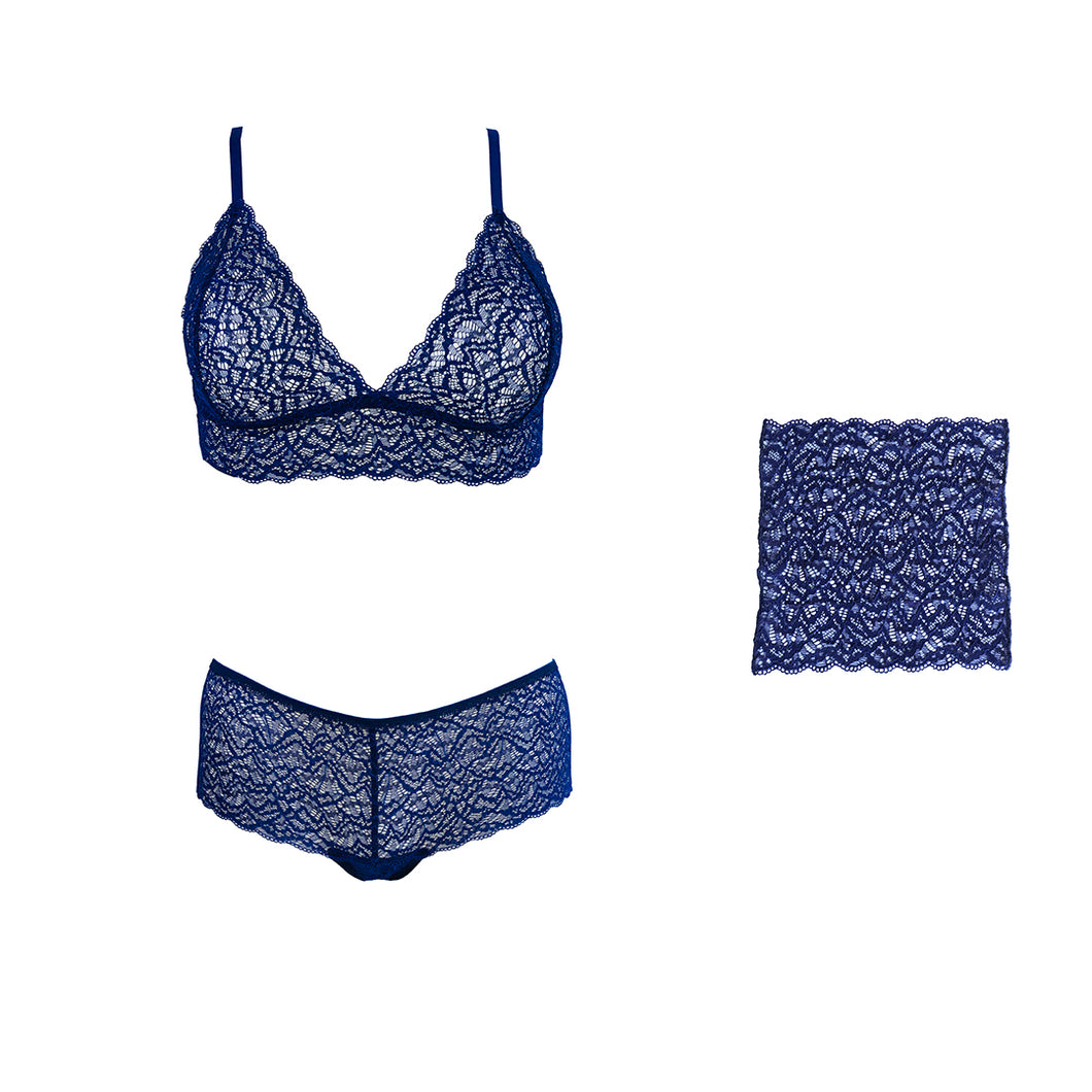 Duchess lingerie set and matching pocket square in Venetian Blue.