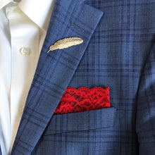 Load image into Gallery viewer, Duchess Lace Pocket Square on blue suit.