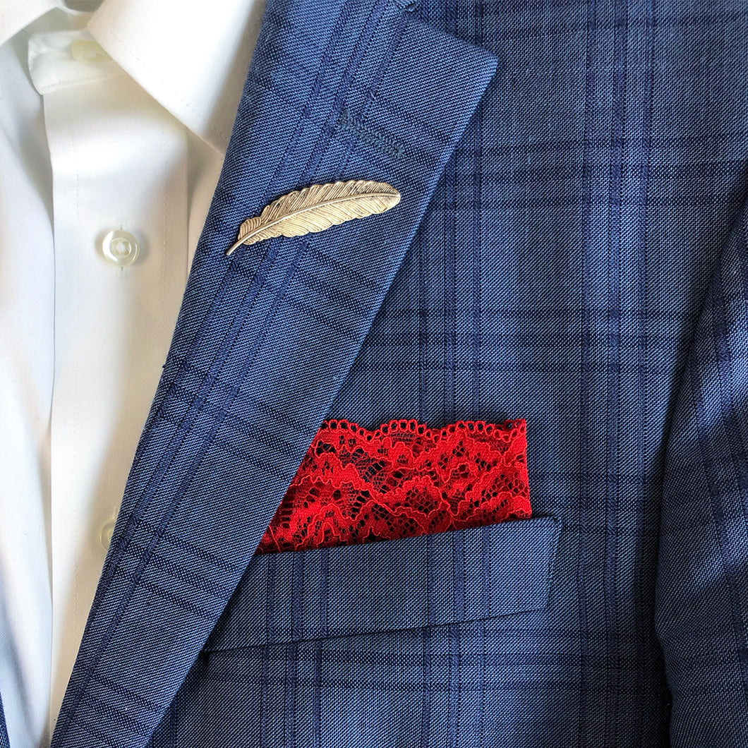 Duchess Lace Pocket Square on blue suit.
