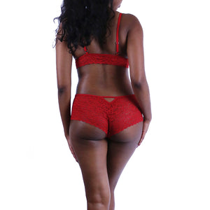 Duchess Lingerie Set in Passion Red on model rear view.