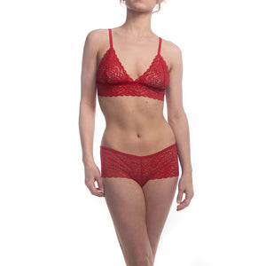 Duchess Lace Bralette and Hipster Panty in Passion Red on model front view.