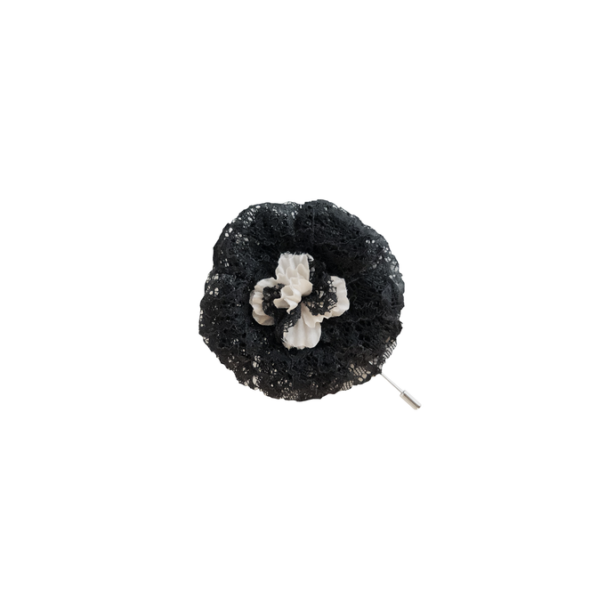 Duchess Lapel Pin with black lace and silk center.