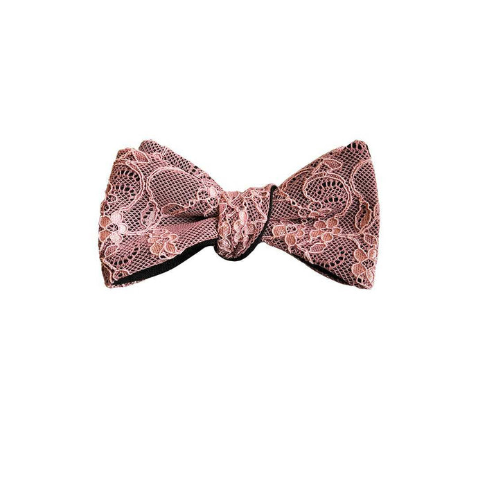 Fantasia lace bow tie in Bellini pink