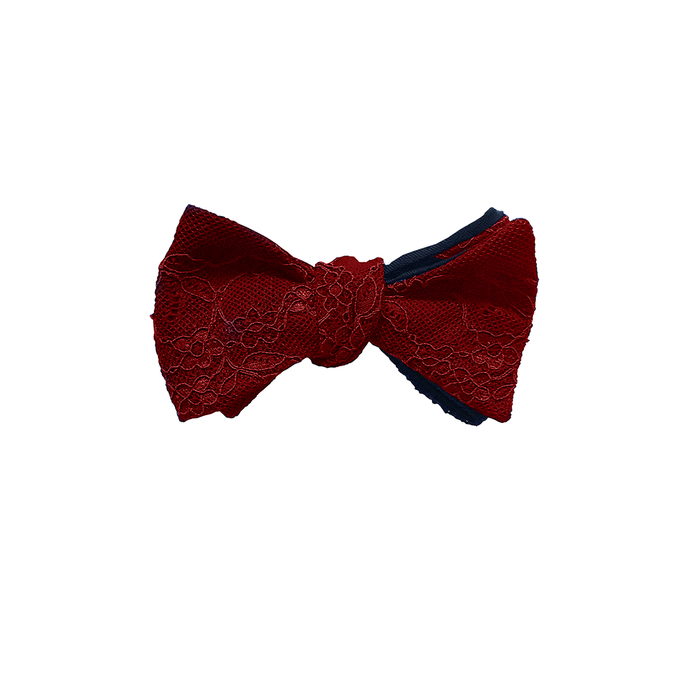 Fantasia lace bow tie with passion red lace, self tie, and adjustable from 13 1/4