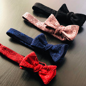 Fantasia lace bow ties in every color in a row
