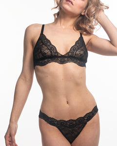 Fantasia lace Bralettes in black sand on model.