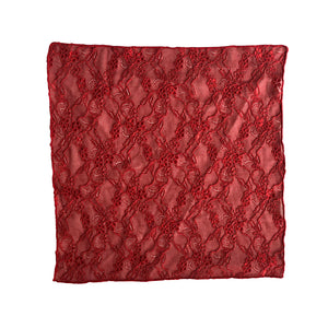 Fantasia Pocket Square in Passion Red unfolded.