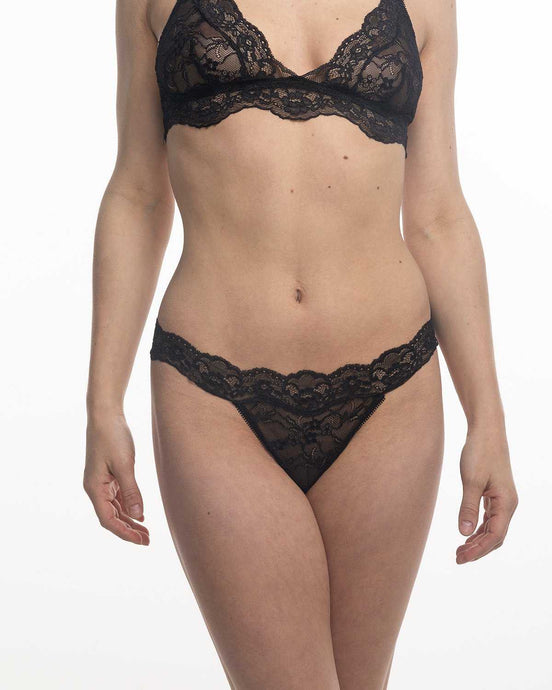 The Fantasia Lace Thong in Black Sand