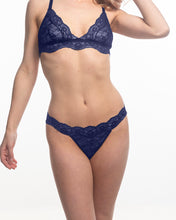 Load image into Gallery viewer, Stephanie wearing the Fantasia Lace Thong in Venetian Blue.