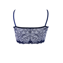 Load image into Gallery viewer, Mezzanotte Two-tone blue floral lace bralette rear facing view