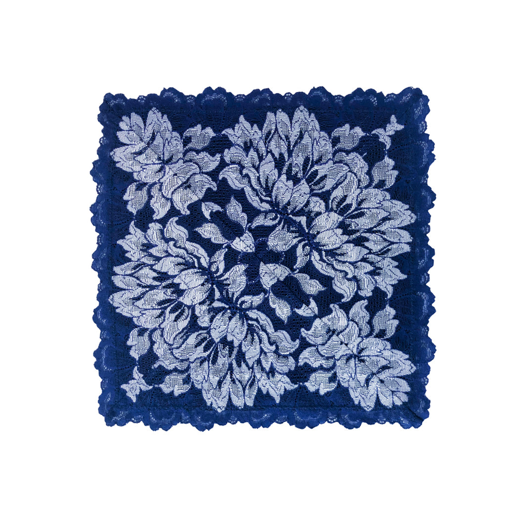 Mezzanotte two-tone lace pocket square in Venetian Blue unfolded.