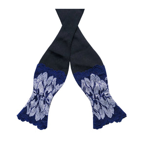 Mezzanotte lace bow tie untied  in Venetian Blue.