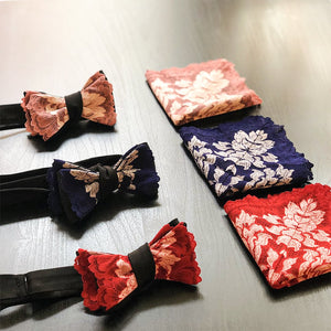 Matching lace bow ties and pocket squares