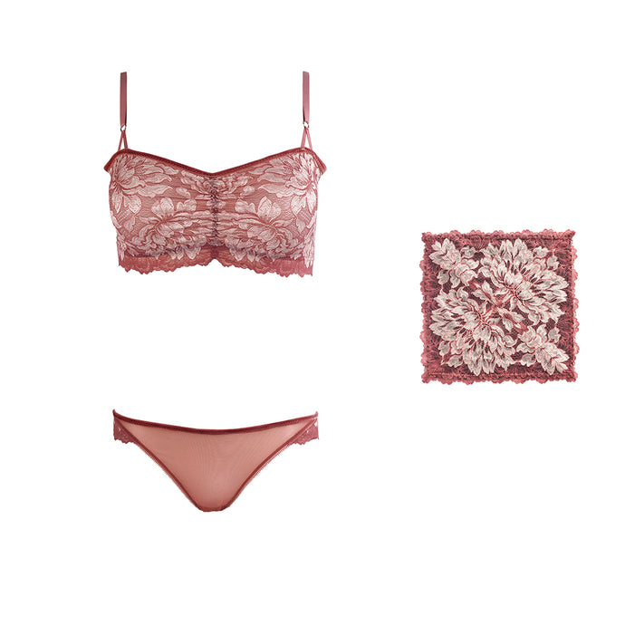 Mezzanotte lingerie set with matching pocket square in Bellini Pink.