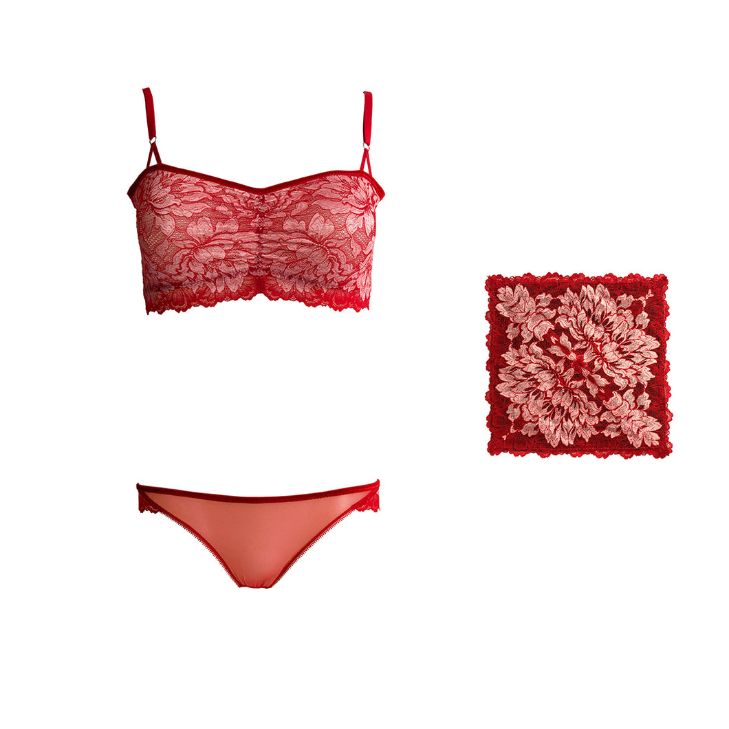 Mezzanotte lingerie set with matching pocket square in Passion Red.
