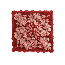 Load image into Gallery viewer, Mezzanotte Lace Pocket Square in passion Red with two-tone floral lace and silk backing.