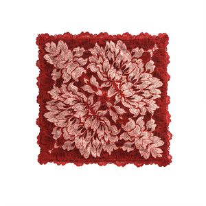 Mezzanotte Lace Pocket Square in passion Red with two-tone floral lace and silk backing.