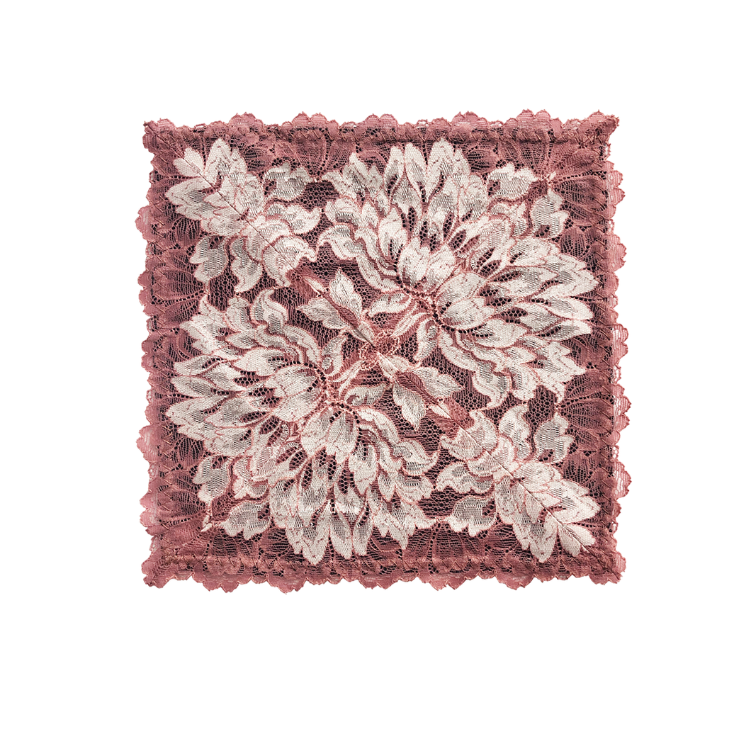 Mezzanotte Lace Pocket Square in Bellini Pink with two-tone floral lace.