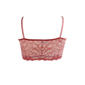 Mezzanotte Bralette in Bellini Pink rear facing.