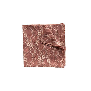 Fantasia lace Pocket Square in Bellini Pink folded